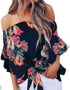 Off The Shoulder Chiffon 3/4 Bell Sleeve Blouse
